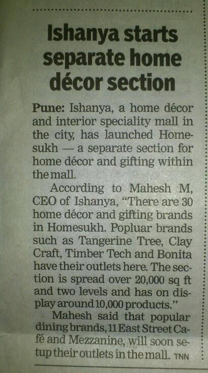 Times of India   -  Bonita opens store in Home Sukh – Ishanya